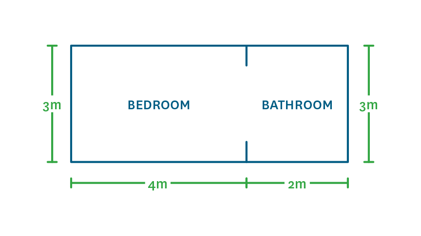 example of bedroom and bathroom with measurements on the side showing width and height in metres