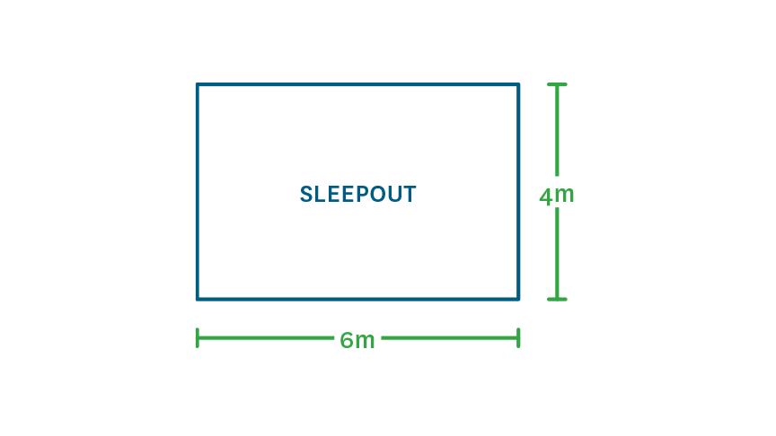 example of sleepout with measurements on the side showing width and height in metres