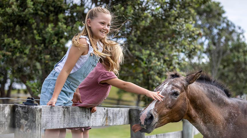 Two young girls leaning over fencing petting horse