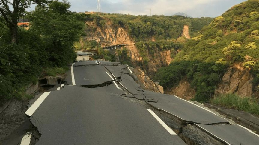 road with cracks in it